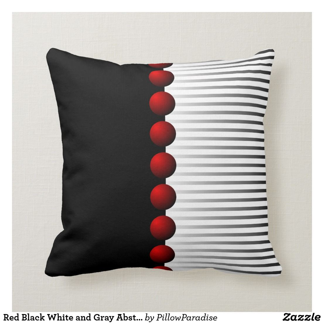 Red Black White And Gray Abstract Throw Pillow Zazzle Com Red Pillows White Throw Pillows Throw Pillow Styling