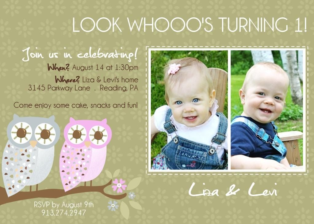 Twins 1st Birthday Invitation YOU PRINT by justmeprints on Etsy