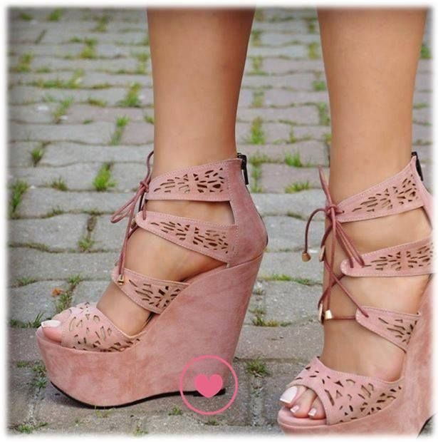 Dusty Rose Wedge Sandals fashion pink shoes wedges lace up dusty rose #shoewedges