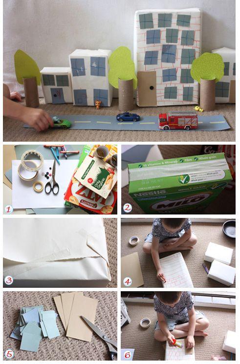Goedkope knutsel tips met dozen, van Speelgoedbank Amsterdam voor ouders en kinderen. Doe-het-zelf goedkoop knutselen. / DIY crafts Build a box city - Kidspot Australia