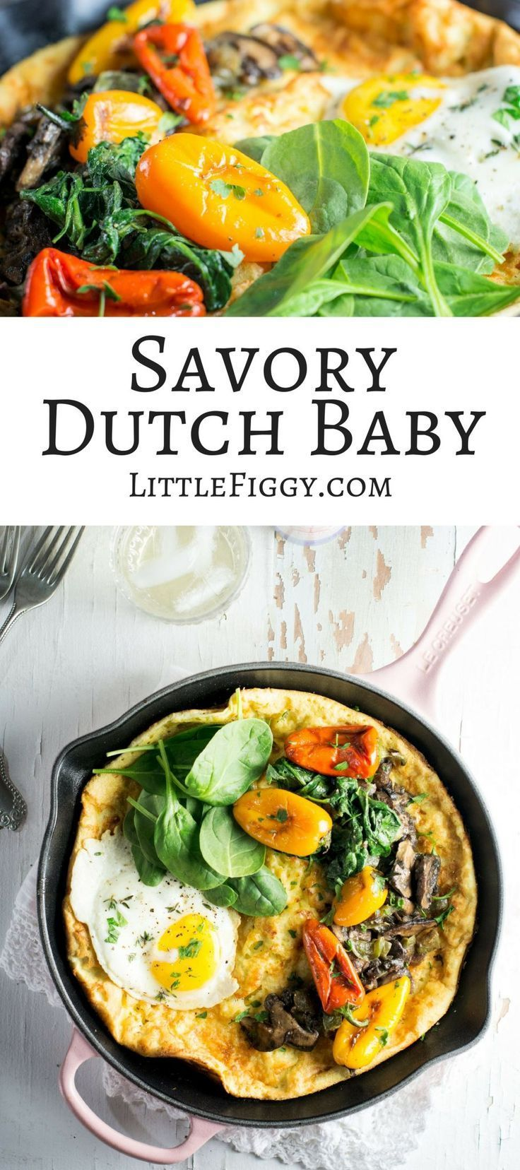 Savory Dutch Baby, perfect for an easy to make brunch, made in my favorite @LeCreuset skillet! Pair the dutch baby with @njoypampelonne! #ad ##LeCreusetLove #EnjoyPampelonne via @LittleFiggyFood