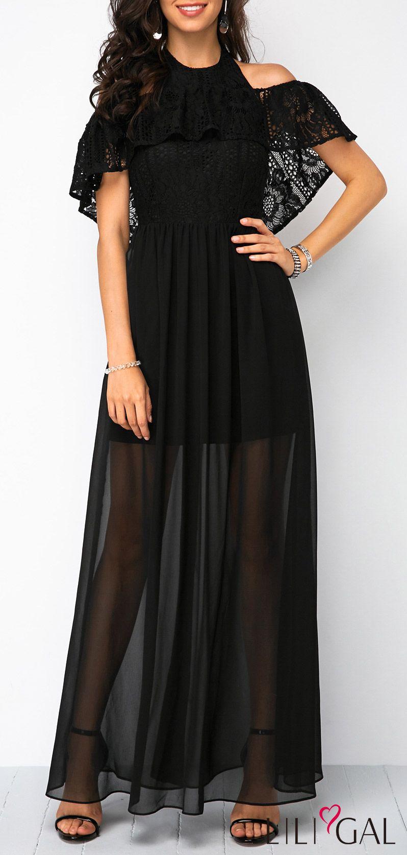 f1ba5e27d2 Lace Patchwork Halter Neck Black Maxi Dress #liligal #dresses #womenswear # womensfashion