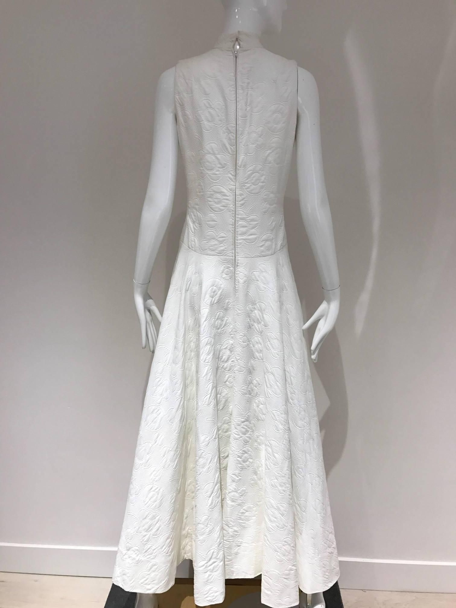 1970s Geoffrey Beene white cotton pique maxi dress (With