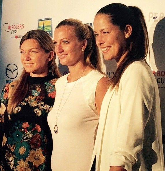 Good evening Toronto 2015-L-R Simona Halep,Petra Kvitova and  Ana Ivanovic