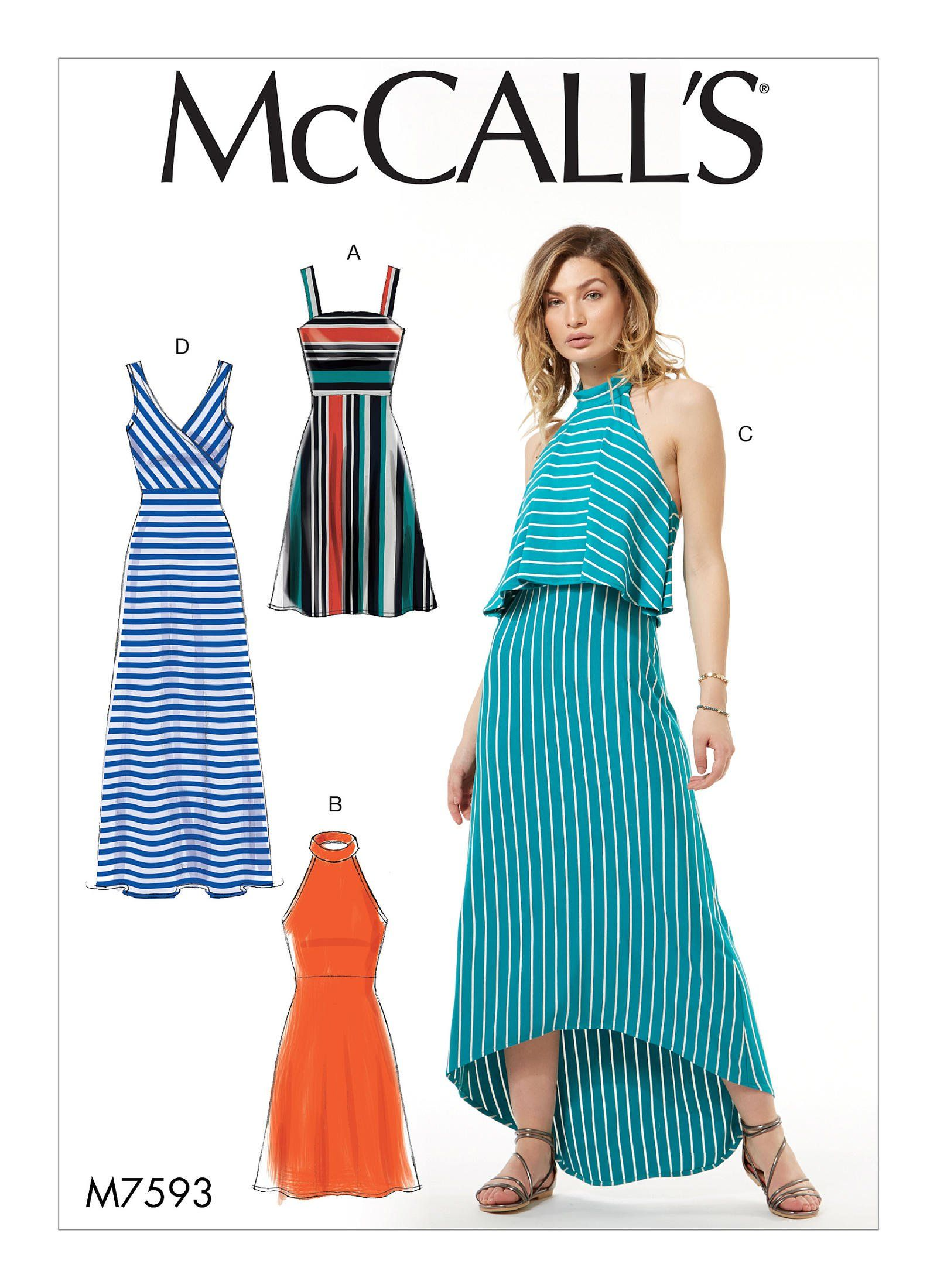 ff4b887669 McCall s Misses  Sleeveless Pullover Dresses with Neckline Bodice and  Length Variations 7593