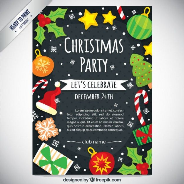 Cute christmas party flyer Free Vector Graphic Design Pinterest
