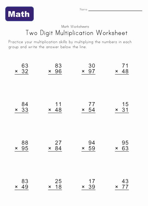 two digit multiplication worksheet 2 | Projects to Try | Pinterest ...