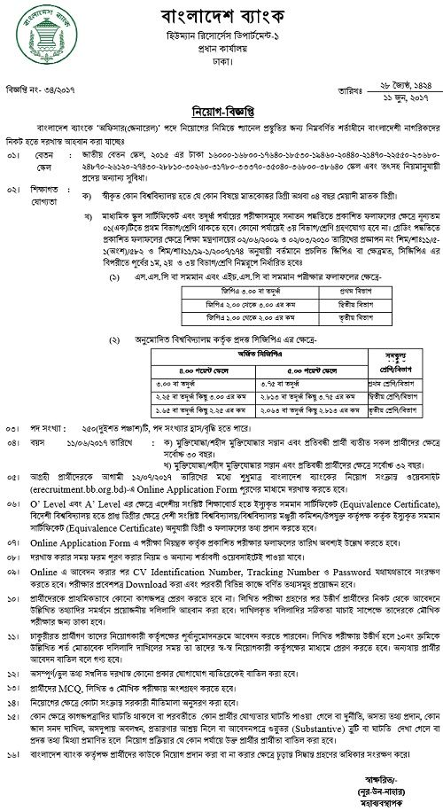 Bangladesh Bank Officer Job Circular 2017 Job circular