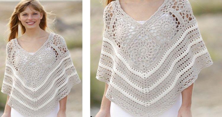 Sweet Martine Crocheted Poncho Free Crochet Pattern Crochet