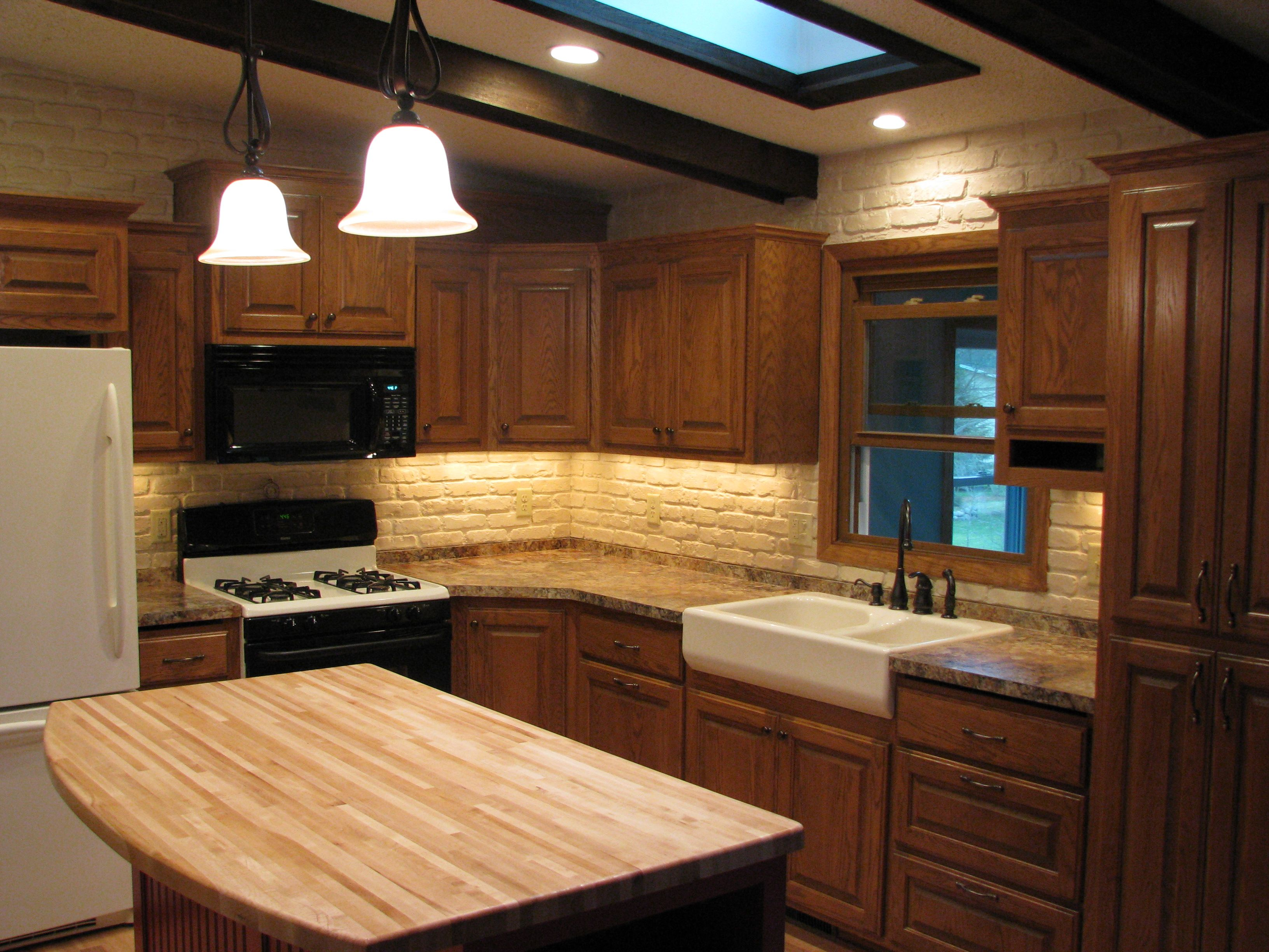 1970 S Split Level Kitchen Remodel Oak Cabinets Farm