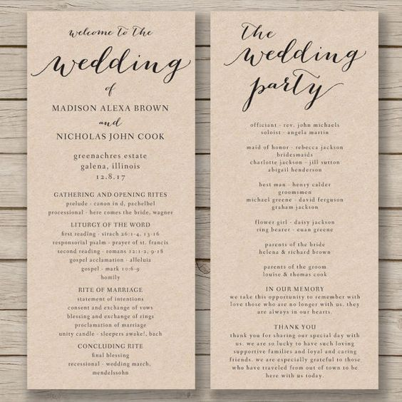 Wedding Program Template Printable By HopeStreetPrintables Nate - Wedding invitation templates: wedding program template word