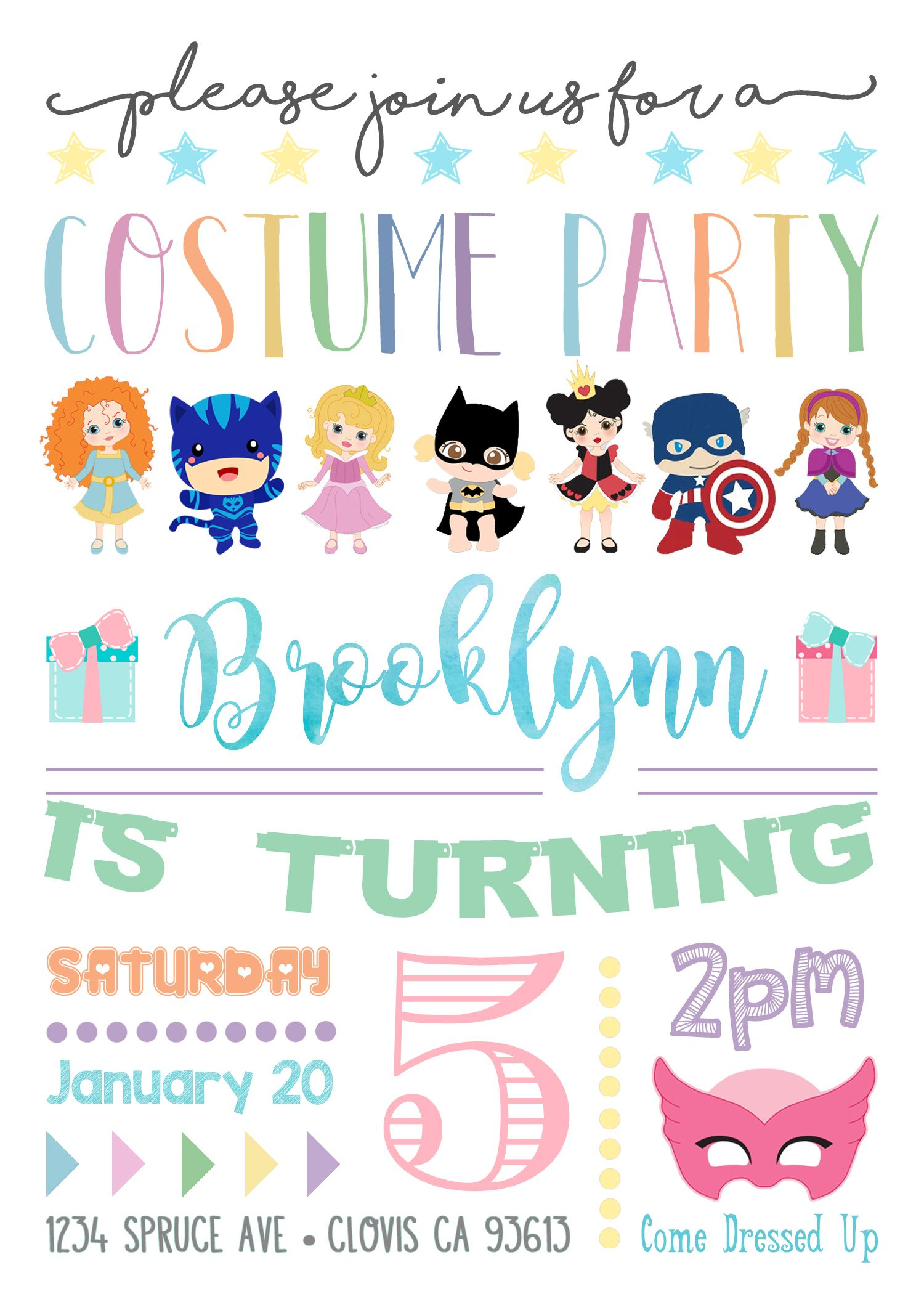 Costume Birthday Party Invitation Invite. Dress Up Party. Halloween ...