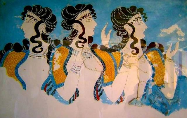 Restored Knossos Fresco of Ladies like Ariadne, lover of Theseus.