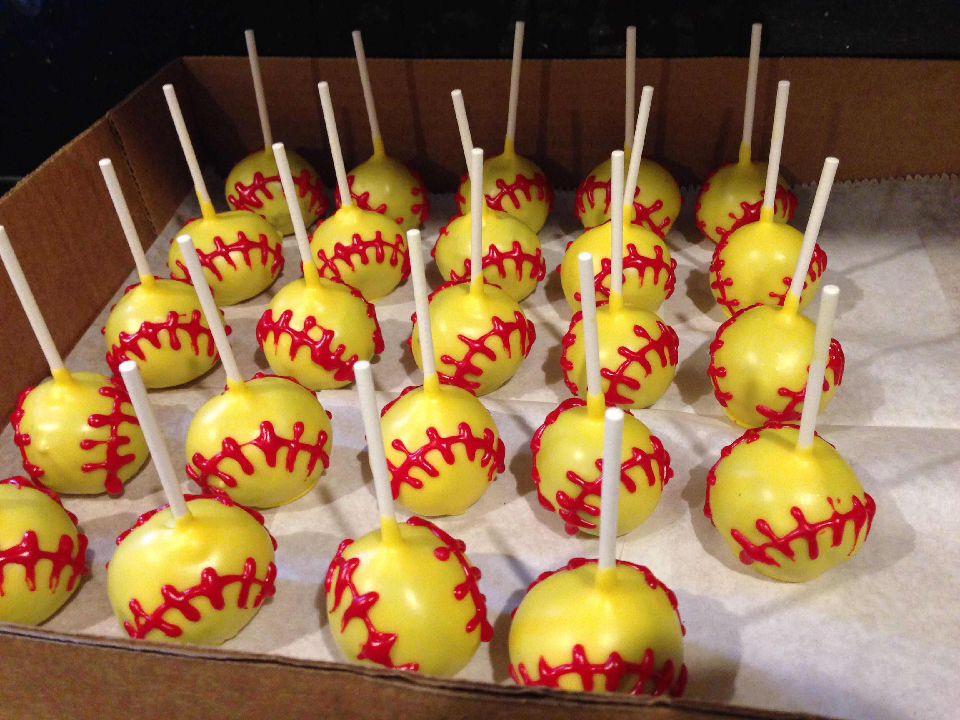 Softball Cake Pops Let s Throw A Party