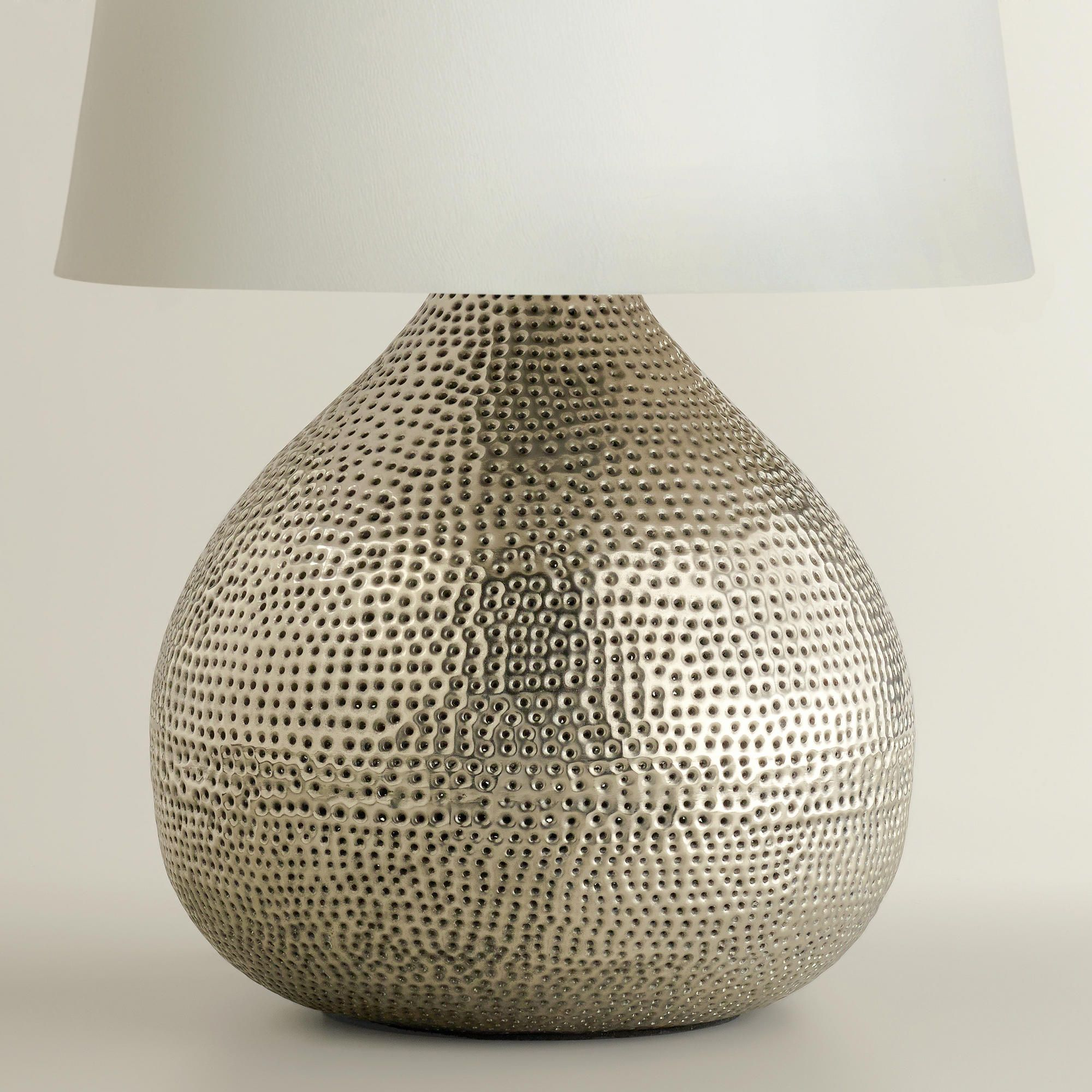 Pewter prema punched metal table lamp base world market design pewter prema punched metal table lamp base world market aloadofball Image collections