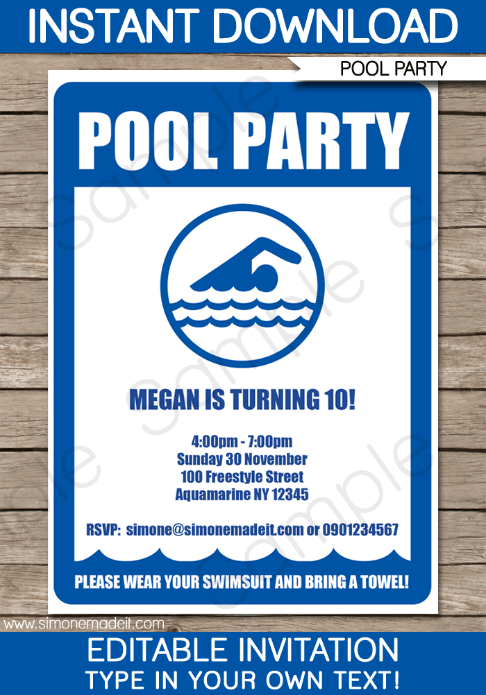 Pool Party Invitations Template  Pool Party Invitations Party