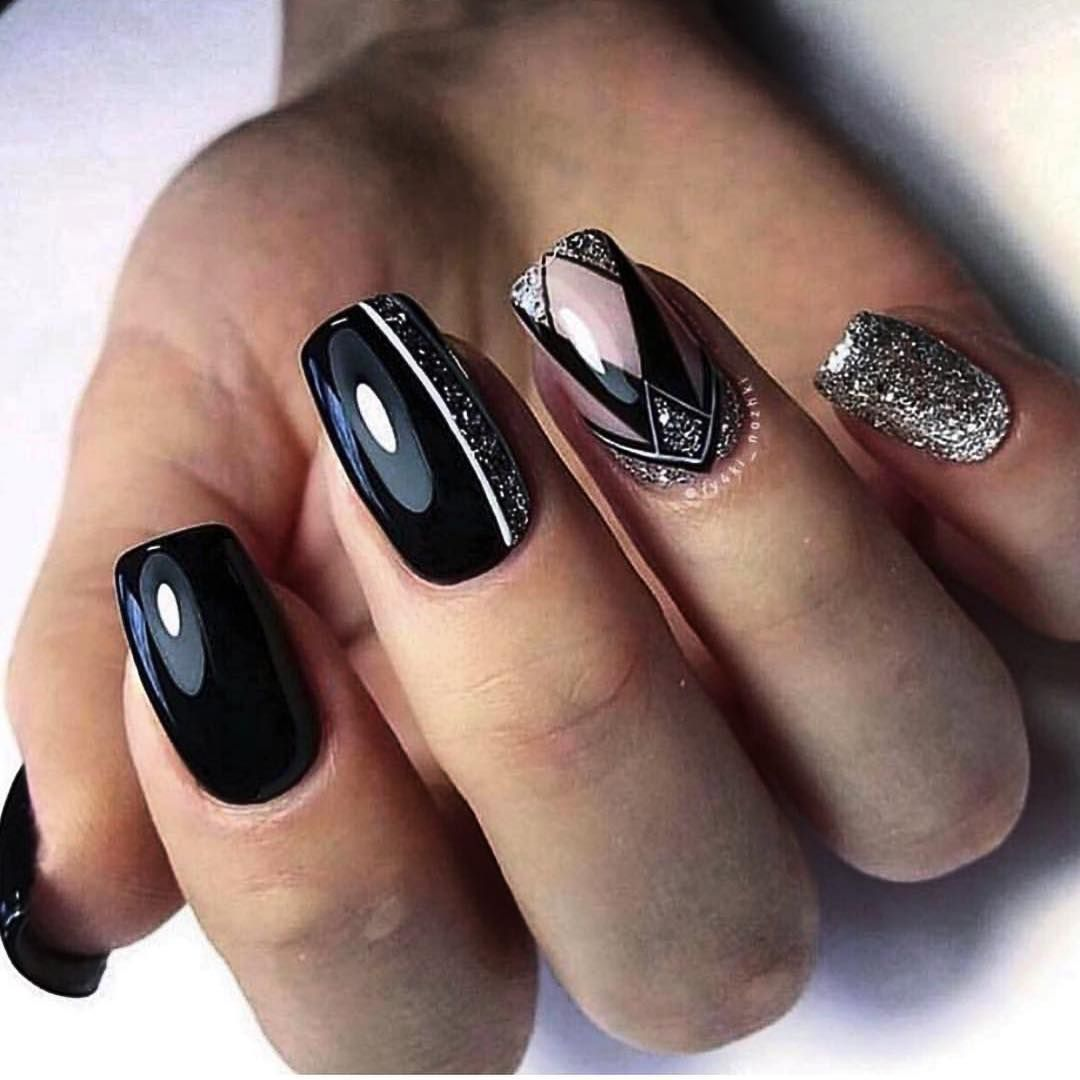 80 Dark Color Nail Designs For Women Square Nail Designs Silver Nails Geometric Nail