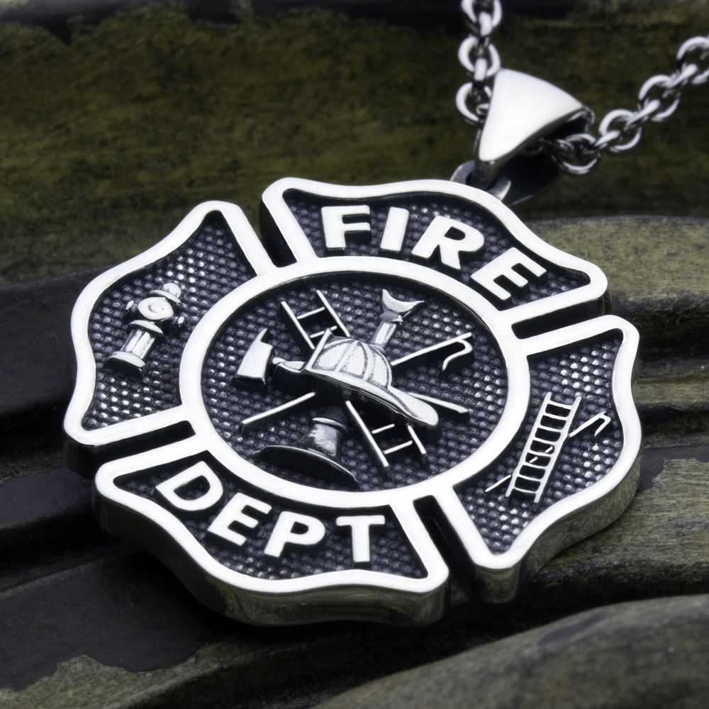 female pendant zoom listing firefighter maltese il cross fullxfull necklace emt paramedic