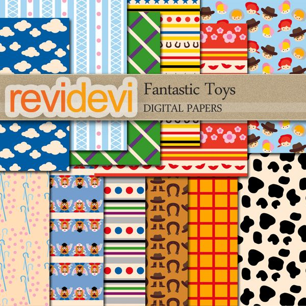 Fantastic Toys Papers - create your invitations, wrapping paper, paper goods and crafts.  Set of 12 designs.