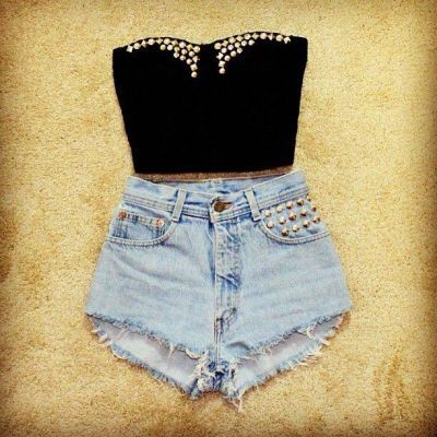 studded crop top and high waisted denim shorts