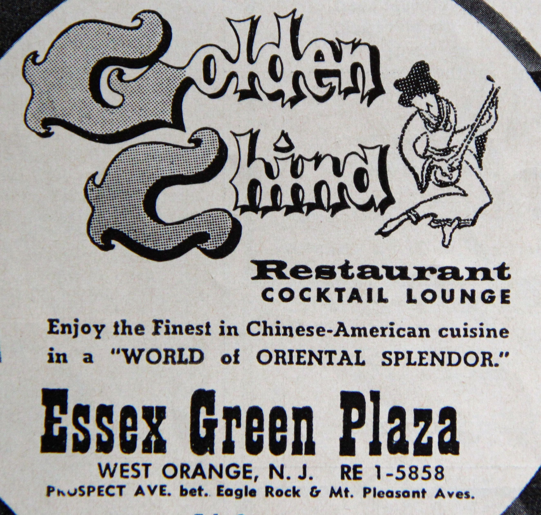 Golden China Restaurant Ad In West Orange Nj 1965 Orange Nj West Orange Essex Green