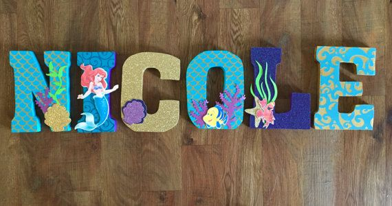 The Little Mermaid Ariel Letters By Shopliamsloane On