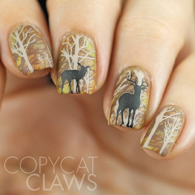 The Digit Al Dozen Does Autumn Day 2 Deer In The Woods Deer Nails Thanksgiving Nail Designs Fall Thanksgiving Nails