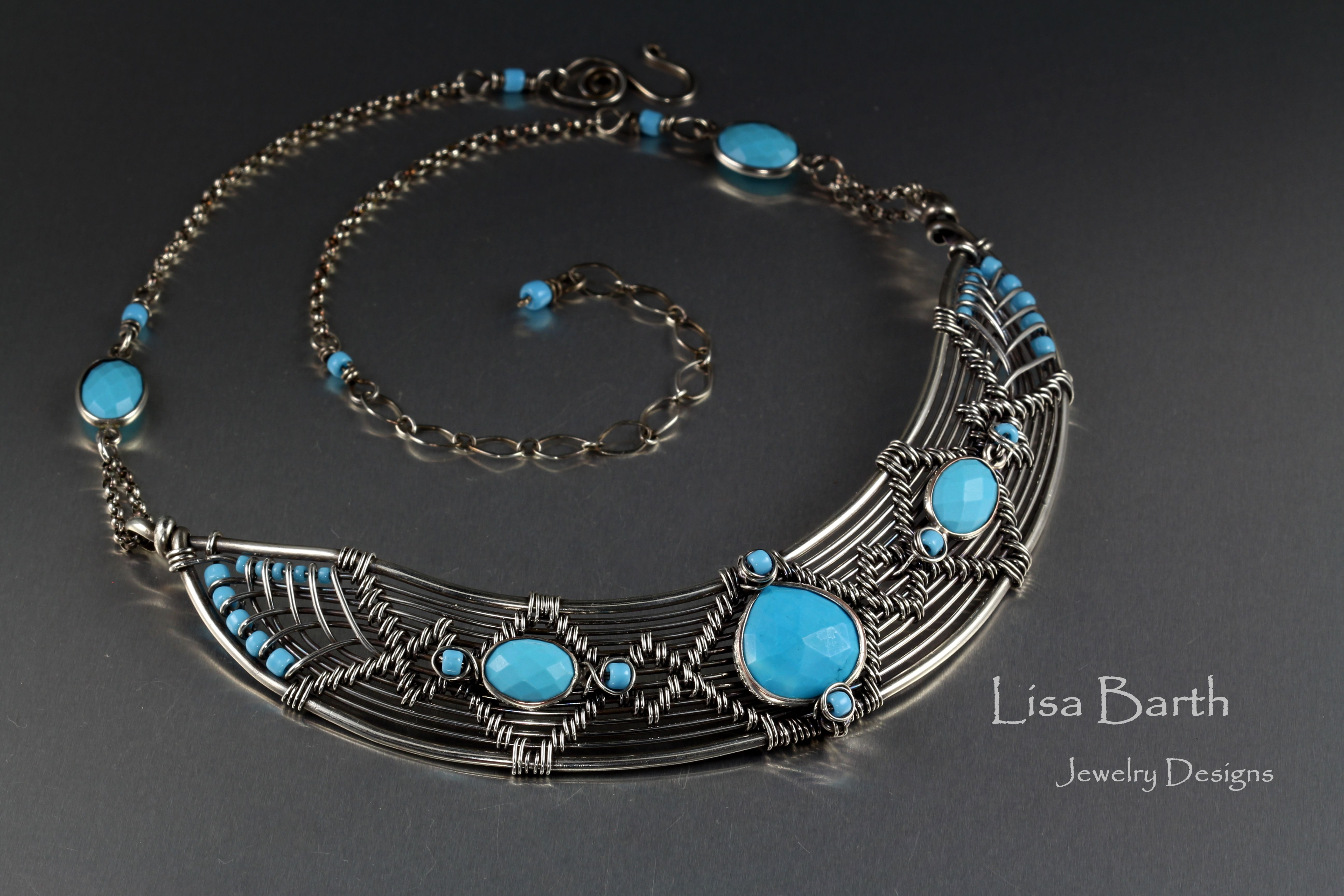 Sterling and Turquoise hand woven necklace, from a bracelet design in my new book, just modified slightly to fit the neckline.
