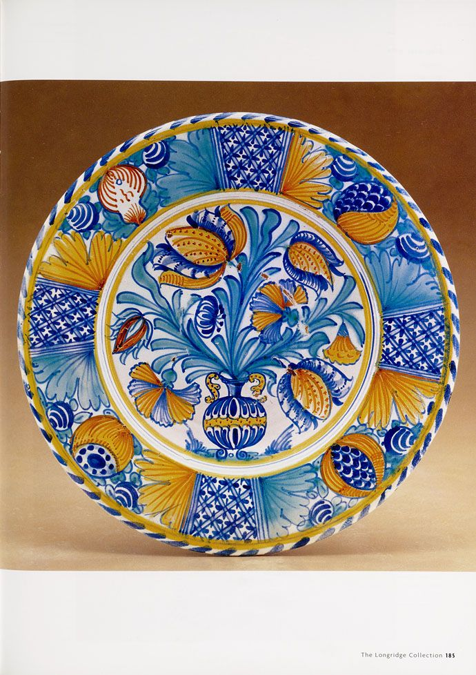 Dishes and plates: horticultural designs. Grigsby, Leslie B. (Leslie Brown) / The Longridge collection of English slipware and delftware. Volume 2: delftware  (2000)