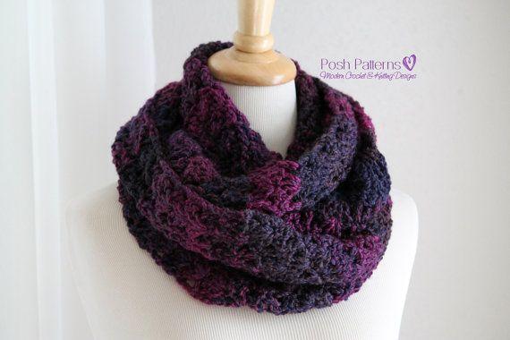 Crochet Pattern Elegant Shells Crochet Cowl Scarf Easy Beginner