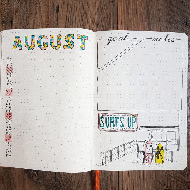 August Bullet Journal Layout Ideas [2019 Edition] #augustbulletjournal