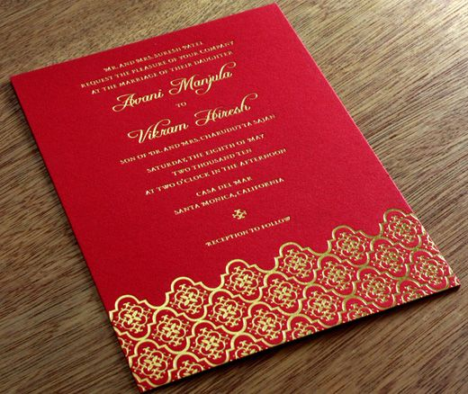 Red And Gold Indian Letterpress Wedding Invitation - Avani By