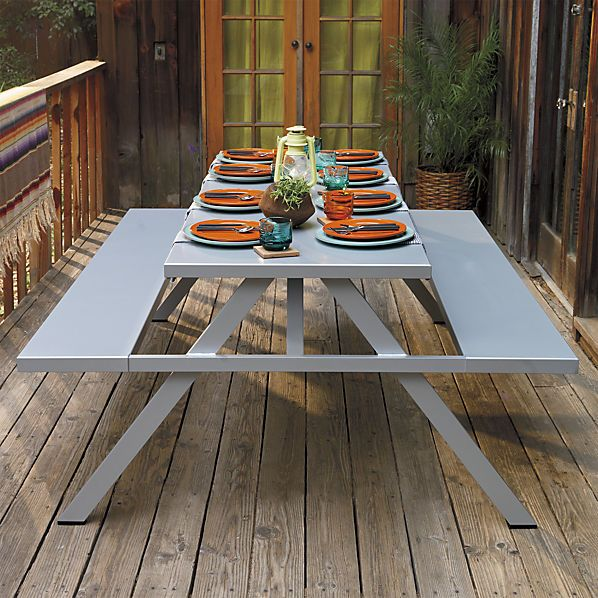 Modern Picnic New Take On The Clic American Table By Brit Designer Jennifer Newman Built In Benches And Smooth Top Sleek Up Weather Resistant