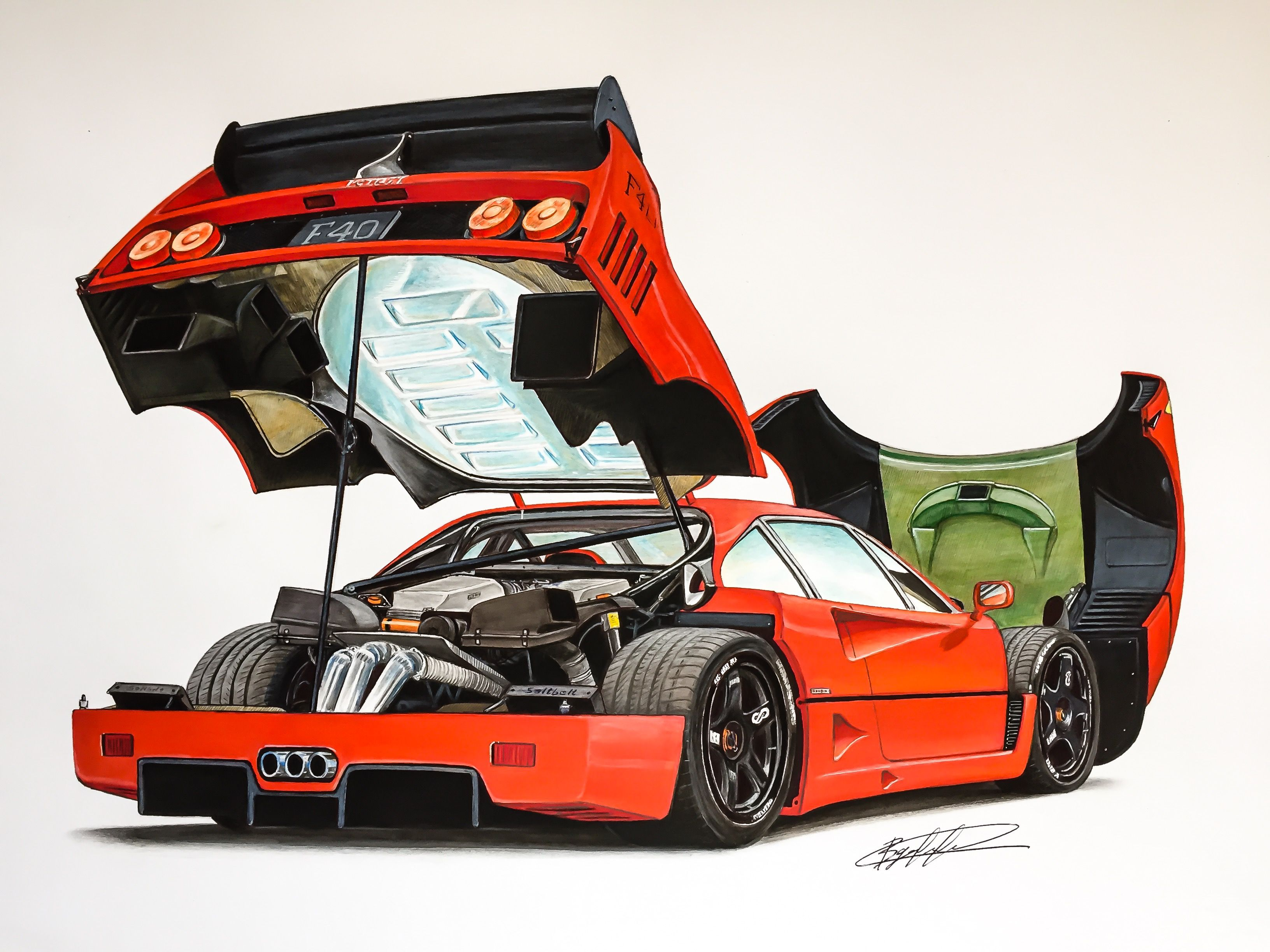 Ferrari Lightweight Lm Wing Drawing Supercar By Filo