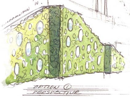 Design ideas to bring a large expanse of boring wall to life with living wall and novel water portholes