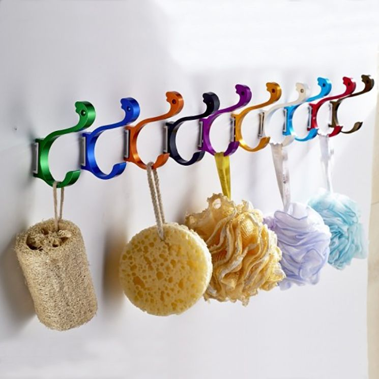 Aluminum Alloy Modern Color Kitchen Door Rear Coat Hooks Wall Bathroom Clothes  Hook Metal Fitting Sanitary