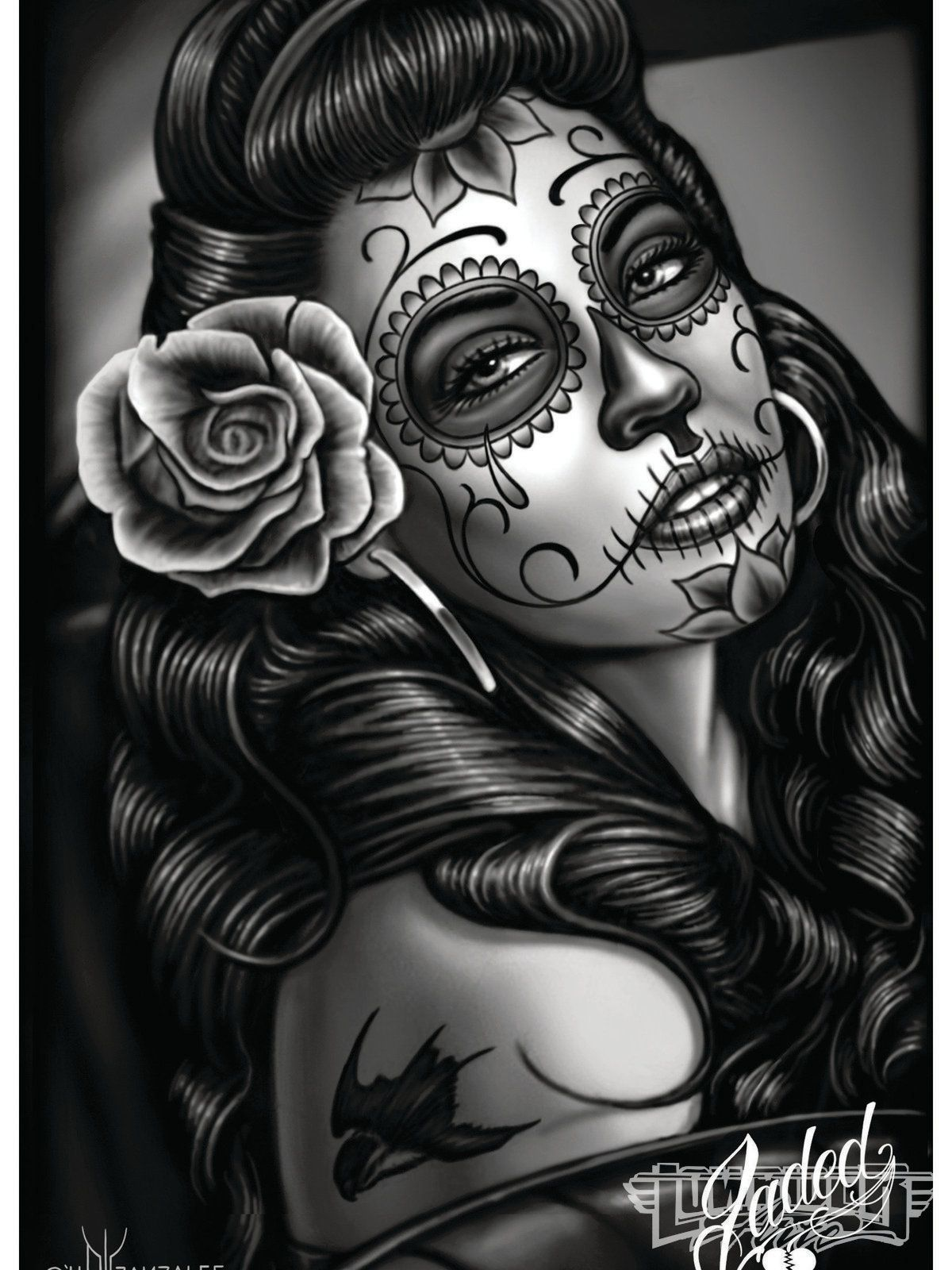 lowrider tattoo art dia de los muertos chicano art on pinterest l. Black Bedroom Furniture Sets. Home Design Ideas