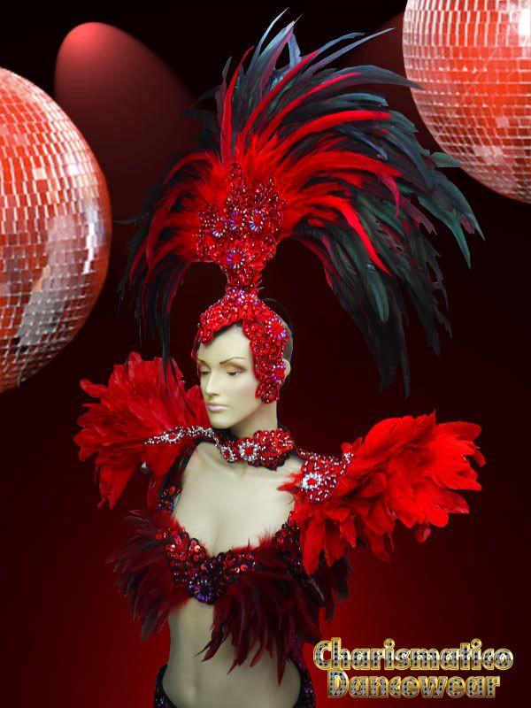 RED DRAG DIVA CABARET Feather SHOULDER COLLAR HEADDRESS