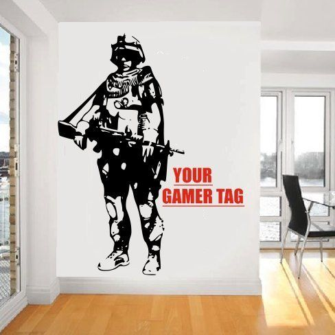 Call Of Duty Style SOLDIER GAMER TAG COD Boys Bedroom Wall Art - Portal 2 wall decalsbest wall decals images on pinterest