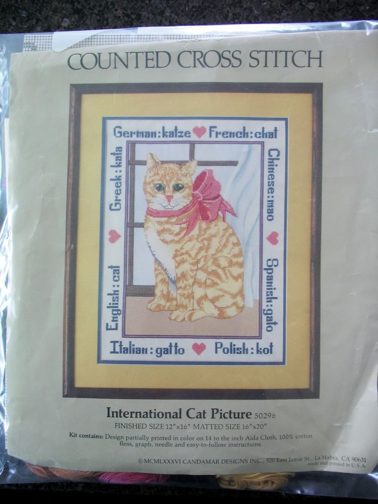 International Cat Cross Stitch Kit Something Special 50296 Candamar 1986 Started #CandamarSomethingSpecial #Frame