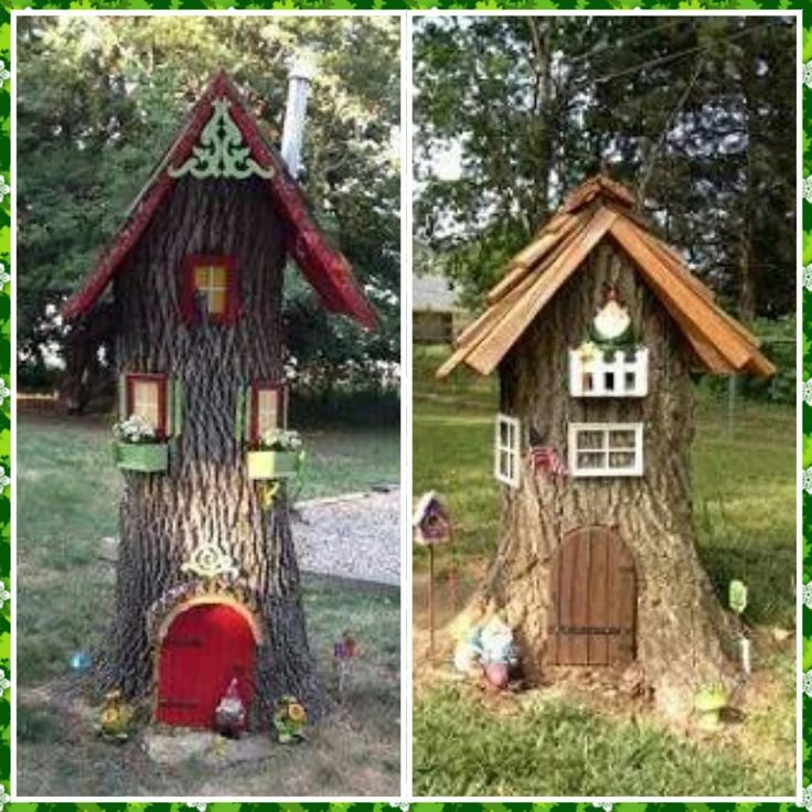 gnome houses made from tree stumps