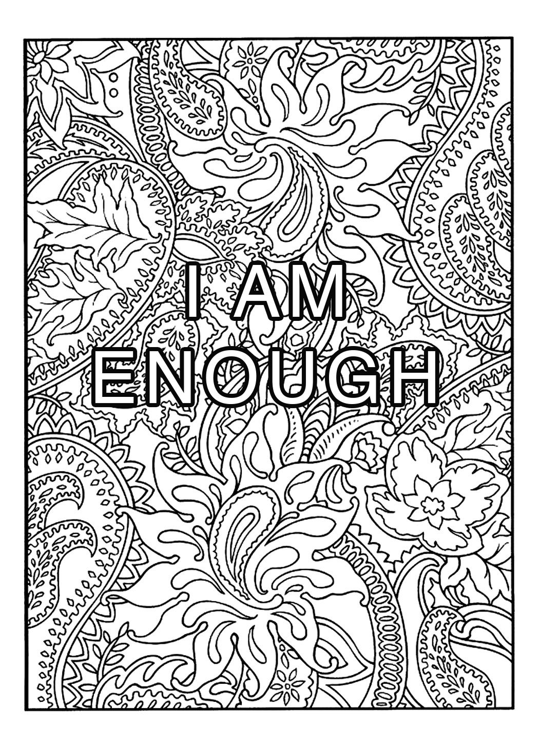 Coloring Page I Am Enough