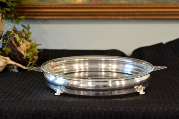 Crescent Silver Plate Pie Serving Stand - Pyrex 10 Inch Glass Pie Plate - Ornate Pierced & RESERVED Crescent Silver Plate Pie Serving Stand - Pyrex 10 Inch ...