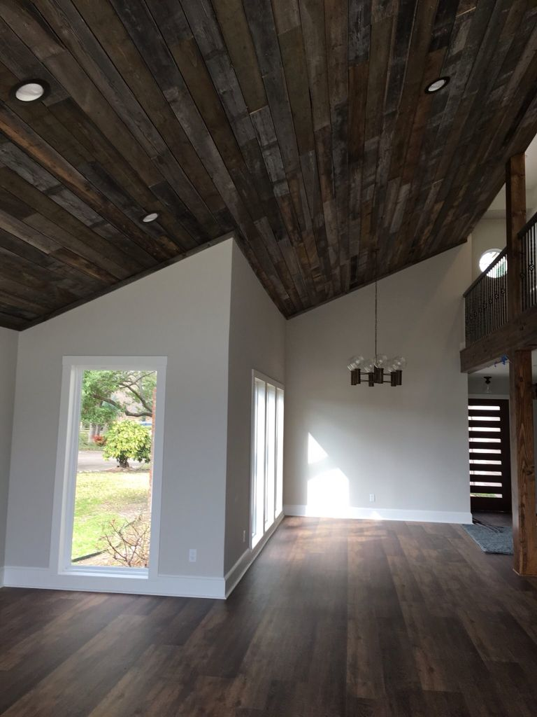 Wood plank ceiling slotted front door and coretec plus for Wood floor and ceiling