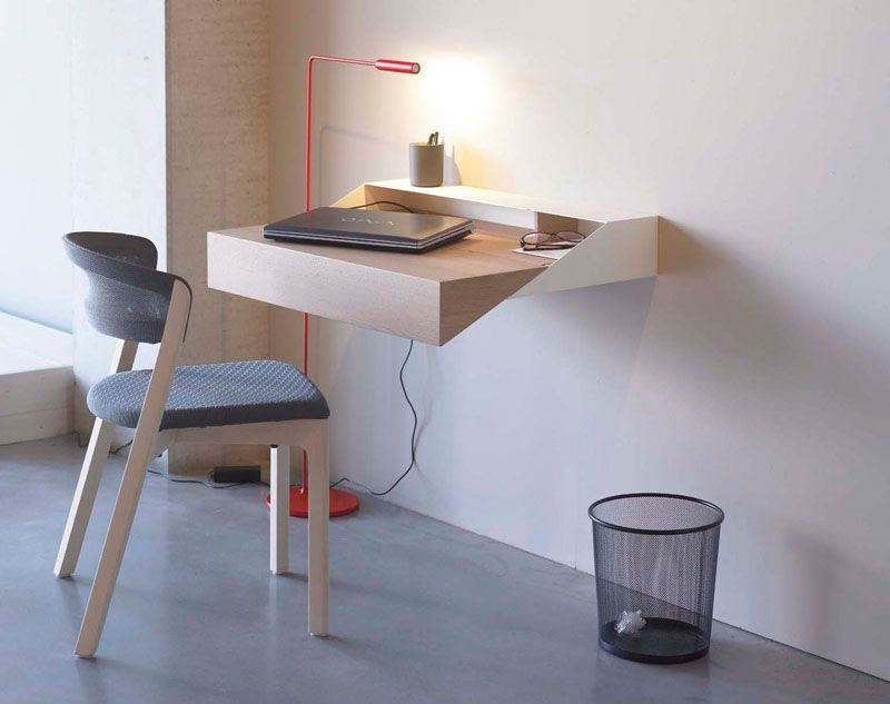 16 Wall Desk Ideas That Are Great For Small Spaces This Minimal Geometric Floating Wall Desk Is Desks For Small Spaces Floating Wall Desk Wall Mounted Desk
