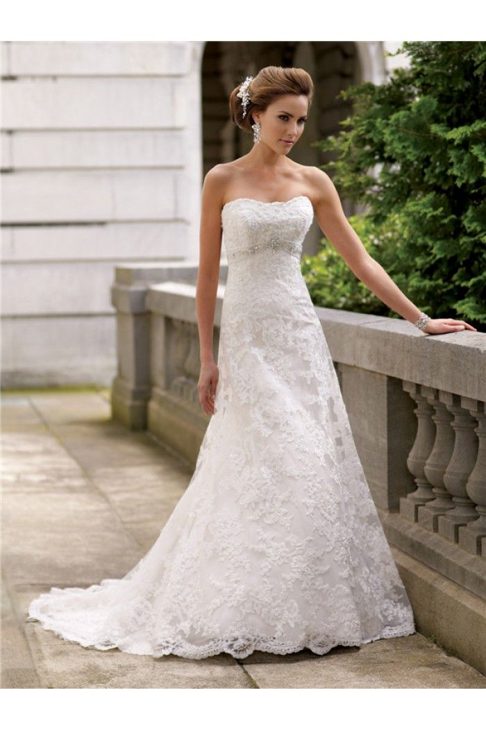 Fitted A Line Strapless Lace Crystal Beaded Wedding Dress | Lace ...