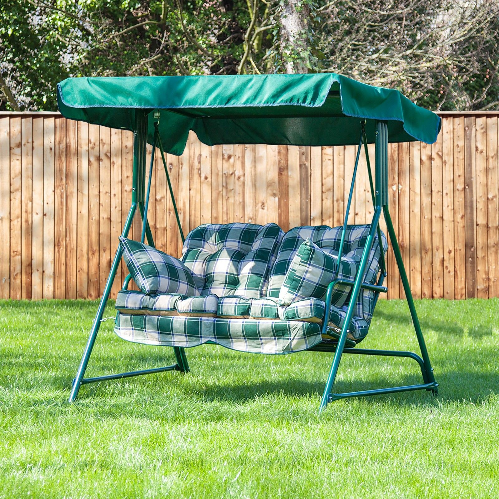 Mosca 2 Seater Swing Seat Green Frame With Classic Cushions Swing Seat Classic Cushions Luxury Cushions