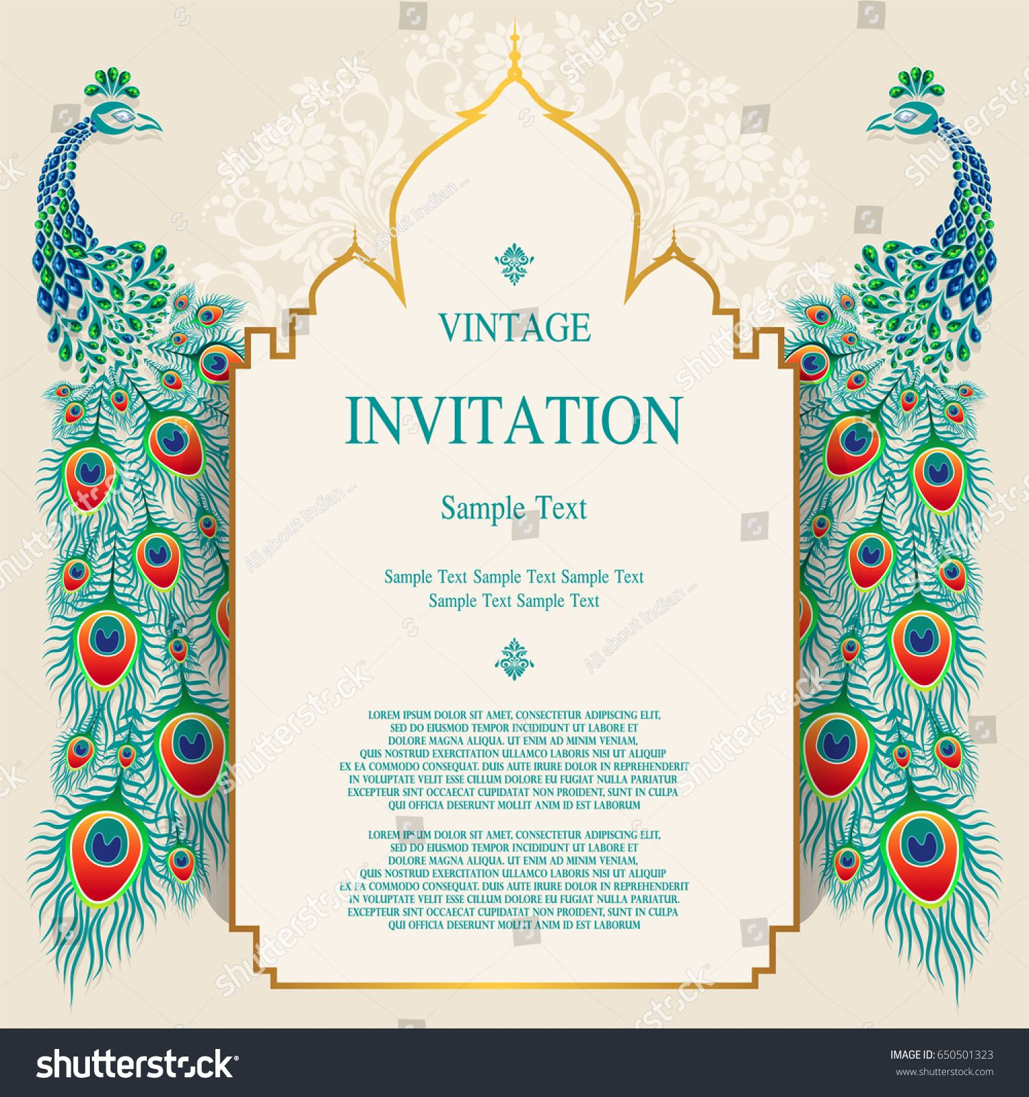Wedding Invitation Card Templates With Peacock Patterned And