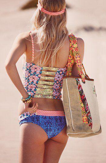 Mixed Prints Batik Strappy Back Tankini Bikini Boho Blue Pink Yellow Floral Chevron