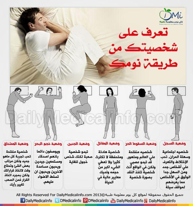 انفوجرافيك تعرف على شخصيتك من طريقة نومك Health Facts Fitness How To Memorize Things Life Habits